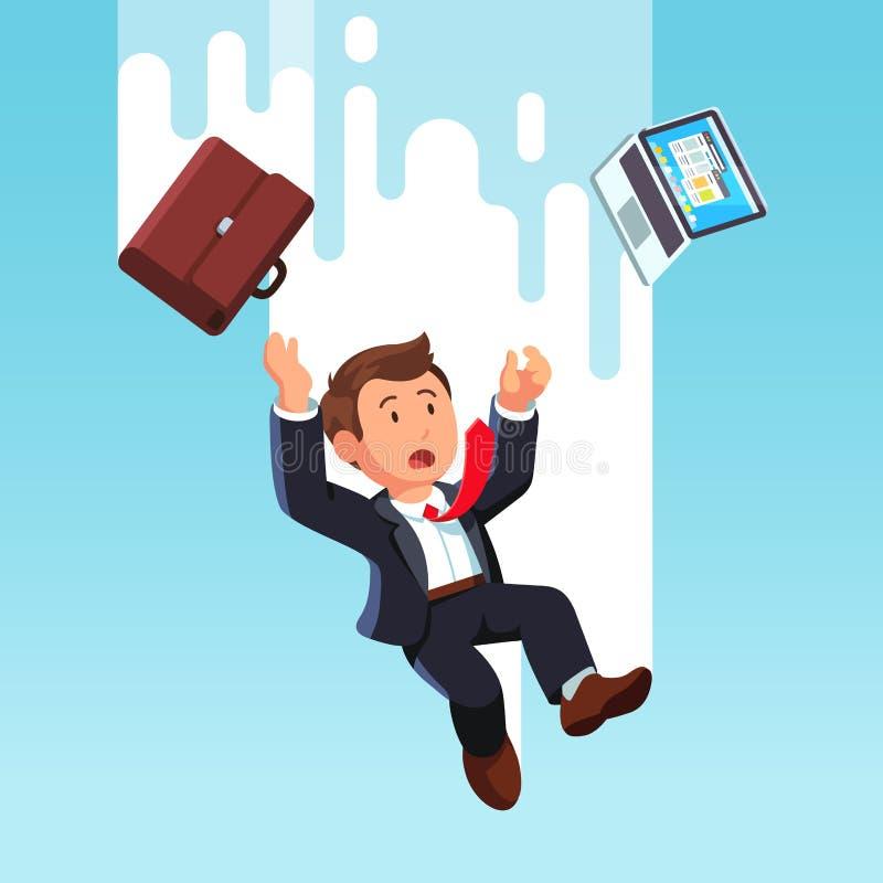 Uomo di affari con il computer portatile che cade dal cielo illustrazione vettoriale