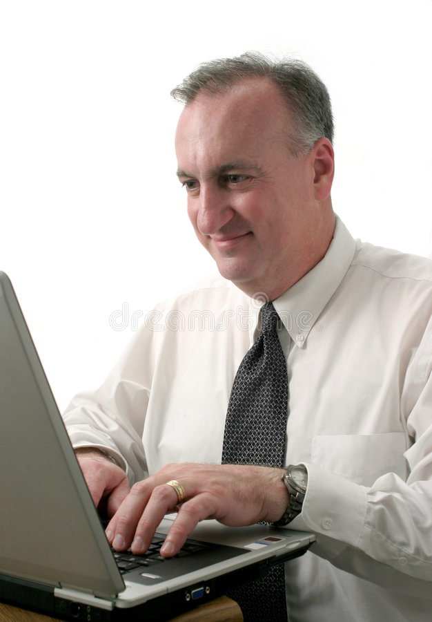 Uomo di affari con il computer portatile ver2 immagini stock