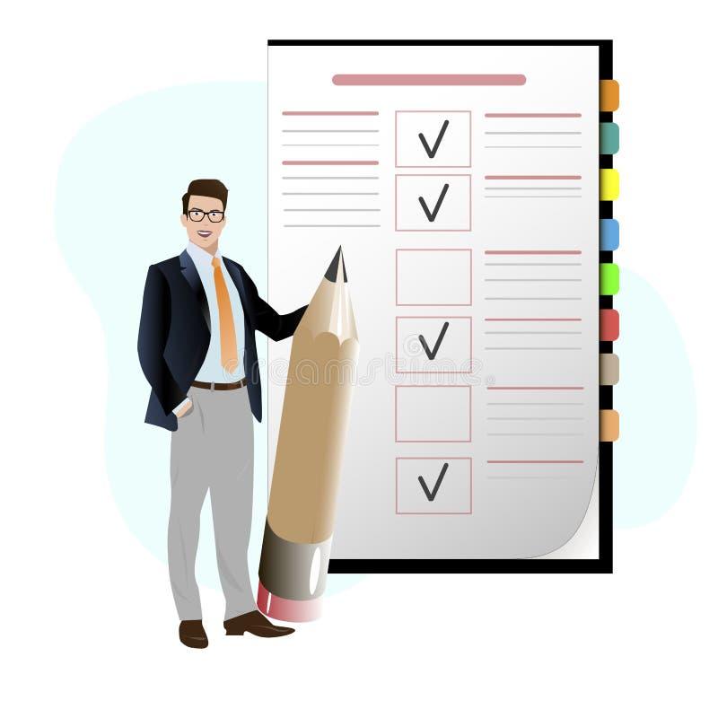 Uomo di affari con il controllo della matita per fare lista illustrazione vettoriale