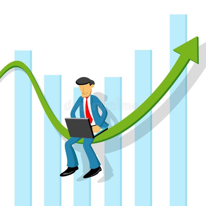 Uomo di affari con il grafico illustrazione di stock