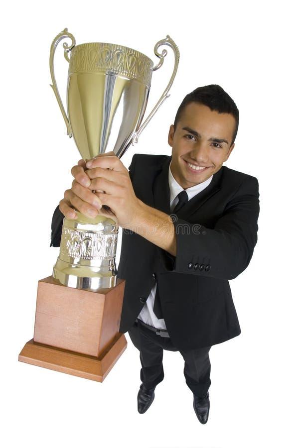 Uomo di affari con il trofeo immagini stock libere da diritti