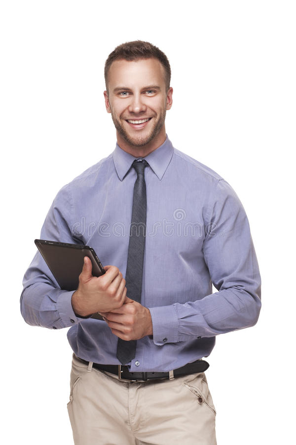 Uomo di affari con la compressa in sue mani fotografia stock