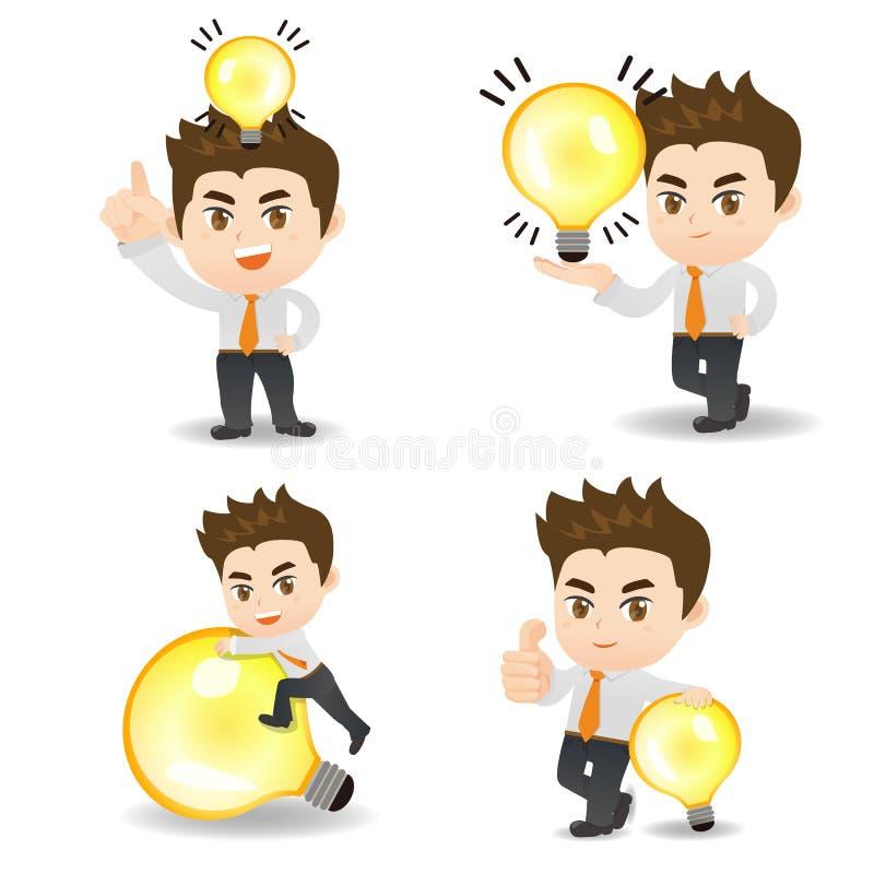 Uomo di affari con la lampadina illustrazione vettoriale