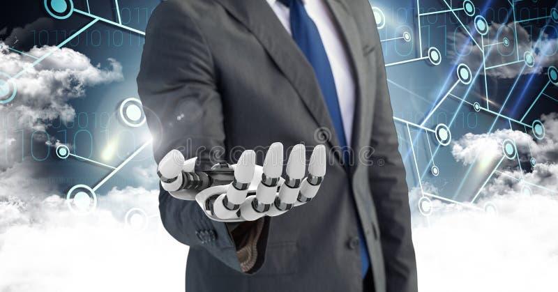 Uomo di affari con la mano del robot con le nuvole nel fondo illustrazione di stock
