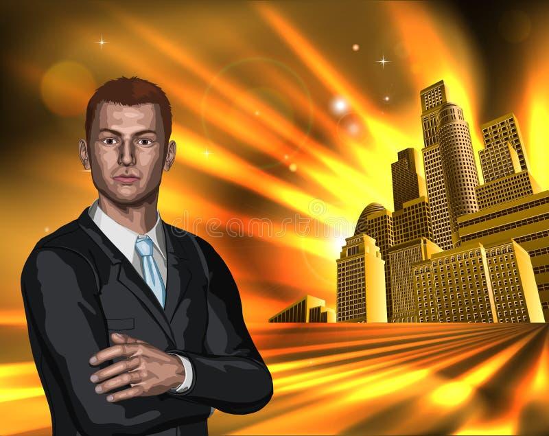 Uomo di affari con la priorità bassa della città illustrazione di stock