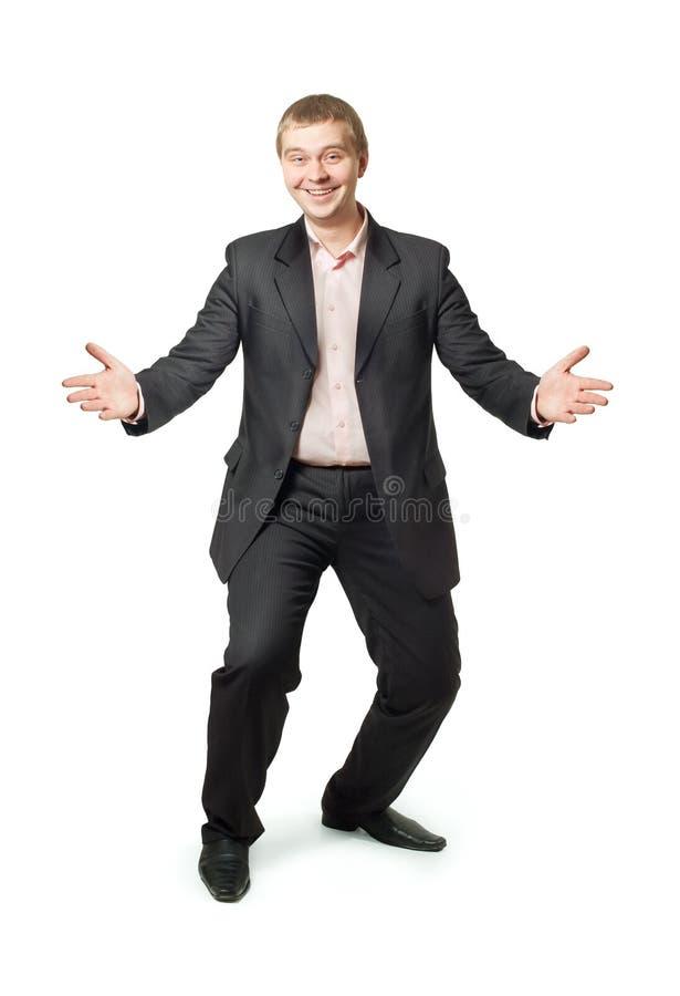 Uomo di affari con le braccia aperte immagini stock libere da diritti