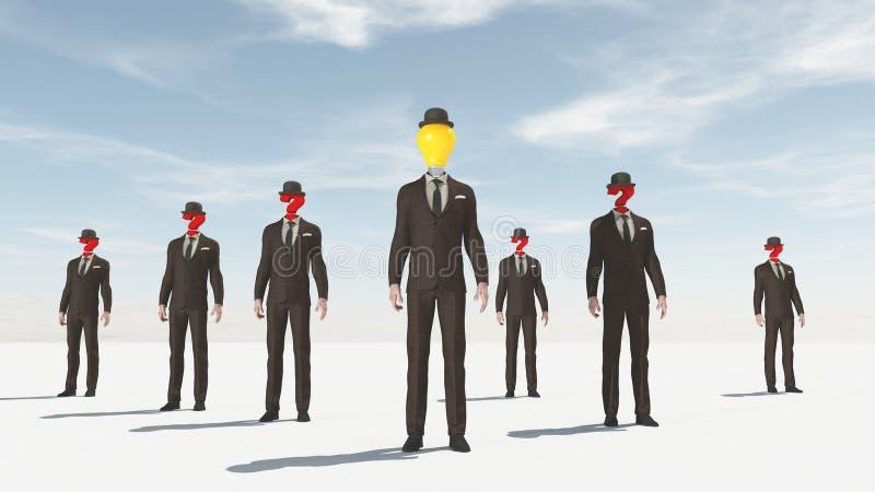 Uomo di affari con un punto interrogativo invece della testa illustrazione vettoriale