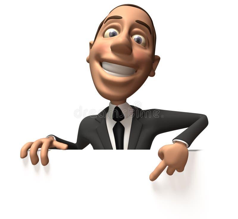 Uomo di affari con un segno in bianco royalty illustrazione gratis