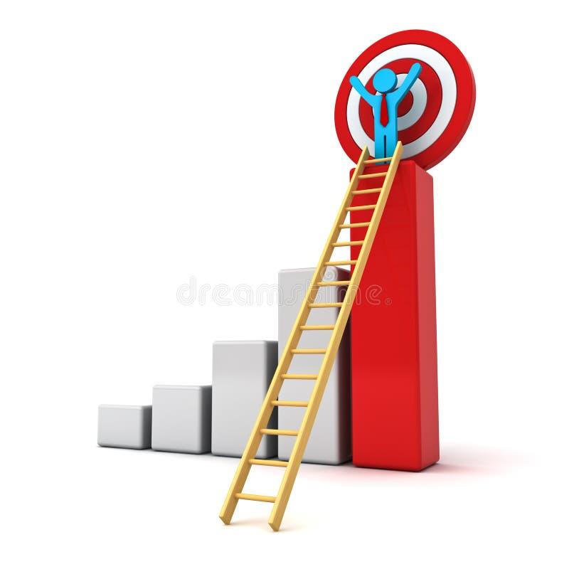 uomo di affari 3d che sta con le armi spalancate sopra l'istogramma rosso di affari di crescita con la scala di legno e l'obiettiv illustrazione di stock