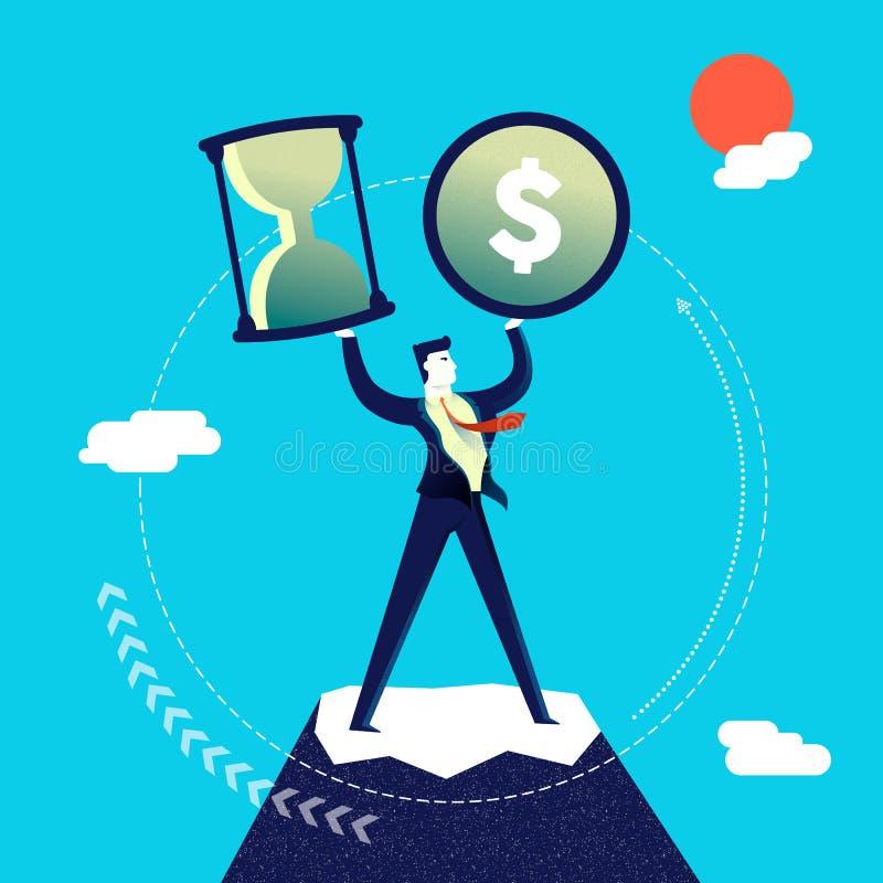 Uomo di affari della gestione del denaro e di tempo illustrazione di stock