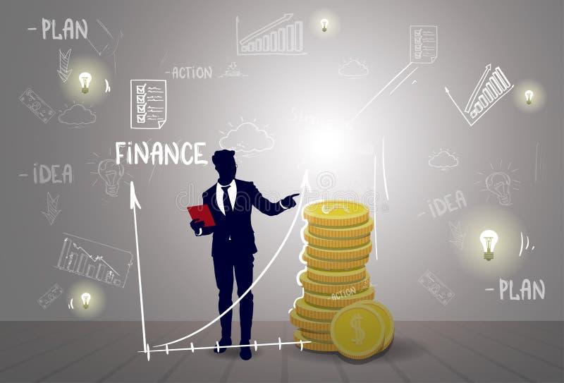 Uomo di affari della siluetta con il rapporto grafico finanziario di successo di finanza di schizzo illustrazione vettoriale