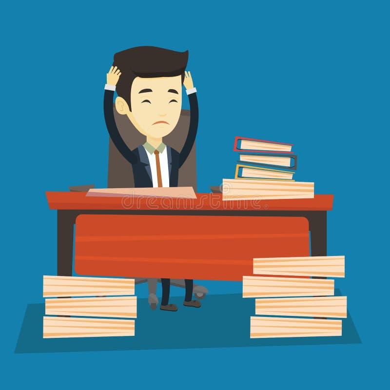 Uomo di affari di disperazione che lavora nell'ufficio illustrazione di stock