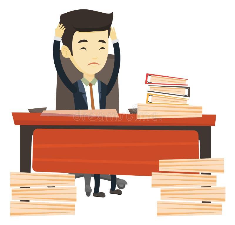 Uomo di affari di disperazione che lavora nell'ufficio royalty illustrazione gratis