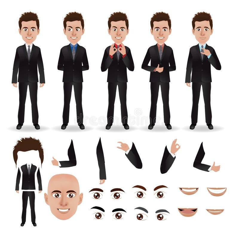 Uomo di affari di vettore con le parti del corpo illustrazione di stock