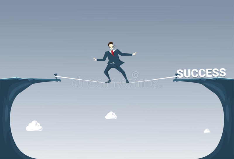 Uomo di affari di Walk Over Cliff Gap Mountain To Success dell'uomo d'affari che equilibra sulla corda illustrazione vettoriale