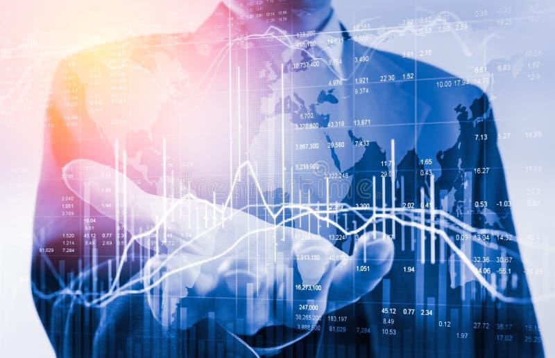 Uomo di affari di doppia esposizione sullo scambio finanziario di riserva azione fotografia stock