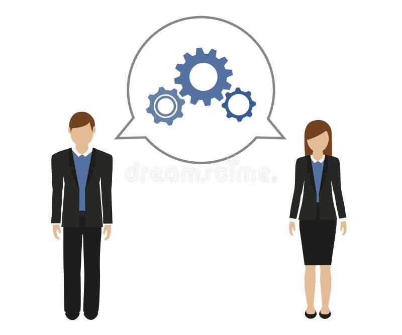 Uomo di affari e donna di affari sviluppare un concetto illustrazione vettoriale