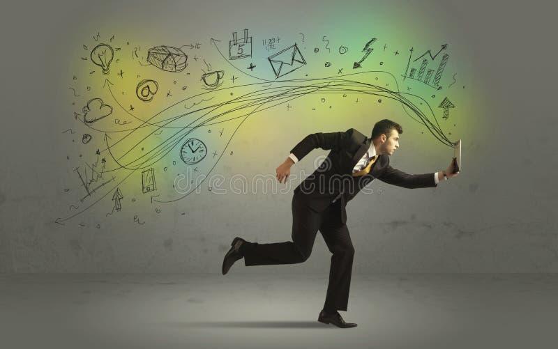 Uomo di affari in fretta e furia con le icone di media di scarabocchio fotografia stock