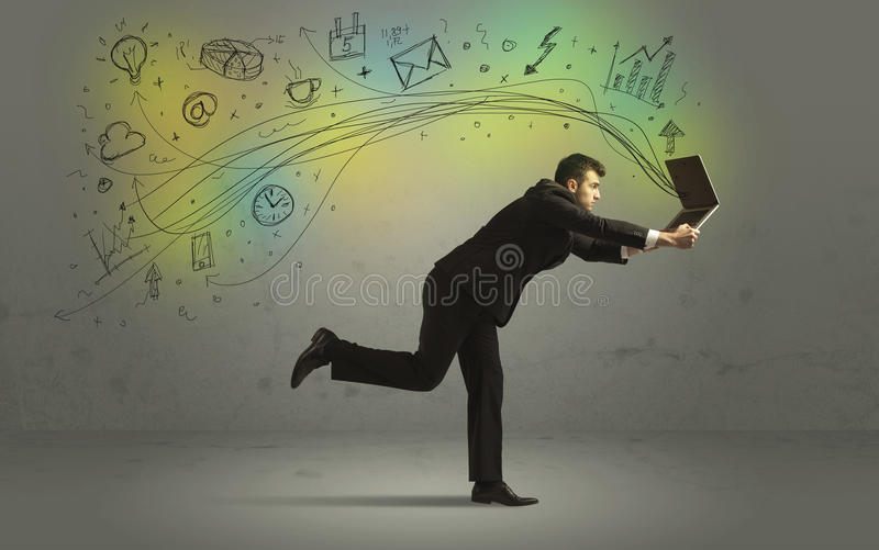Uomo di affari in fretta e furia con le icone di media di scarabocchio fotografie stock libere da diritti