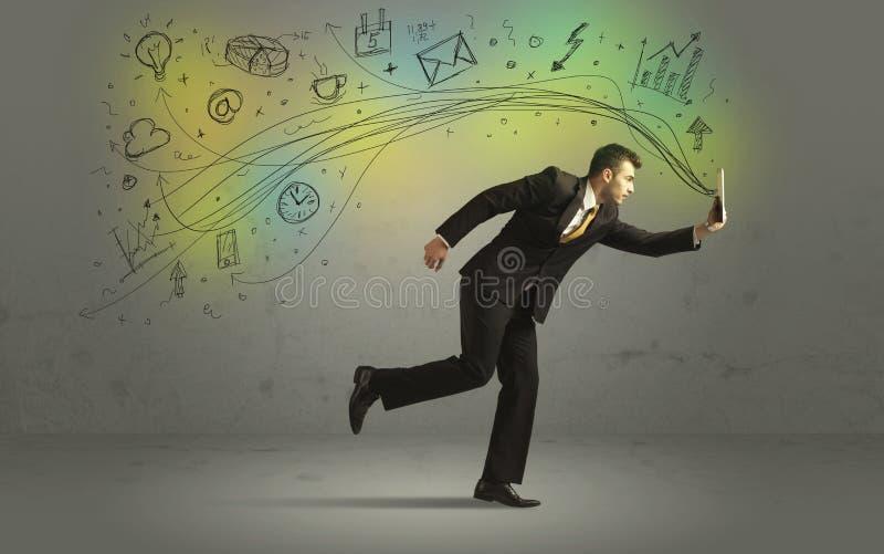 Uomo di affari in fretta e furia con le icone di media di scarabocchio immagine stock