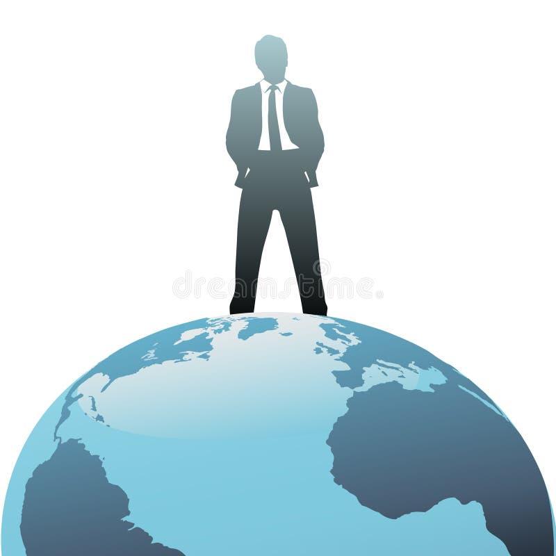 Uomo di affari globali in cima al mondo illustrazione di stock