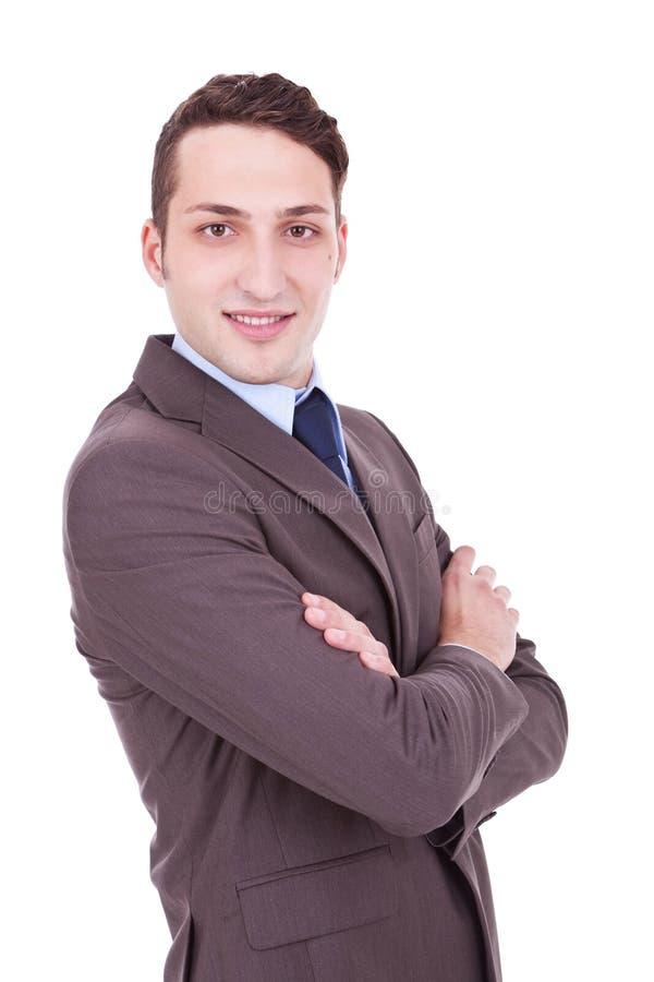 Uomo di affari isolato su priorità bassa bianca fotografia stock