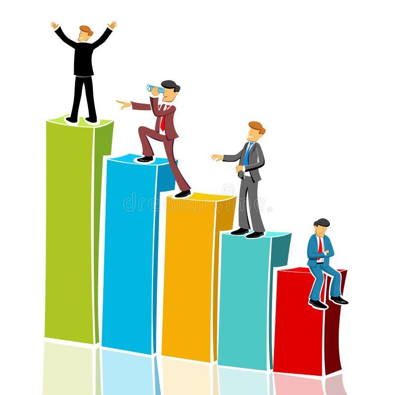 Uomo di affari nel grafico illustrazione di stock