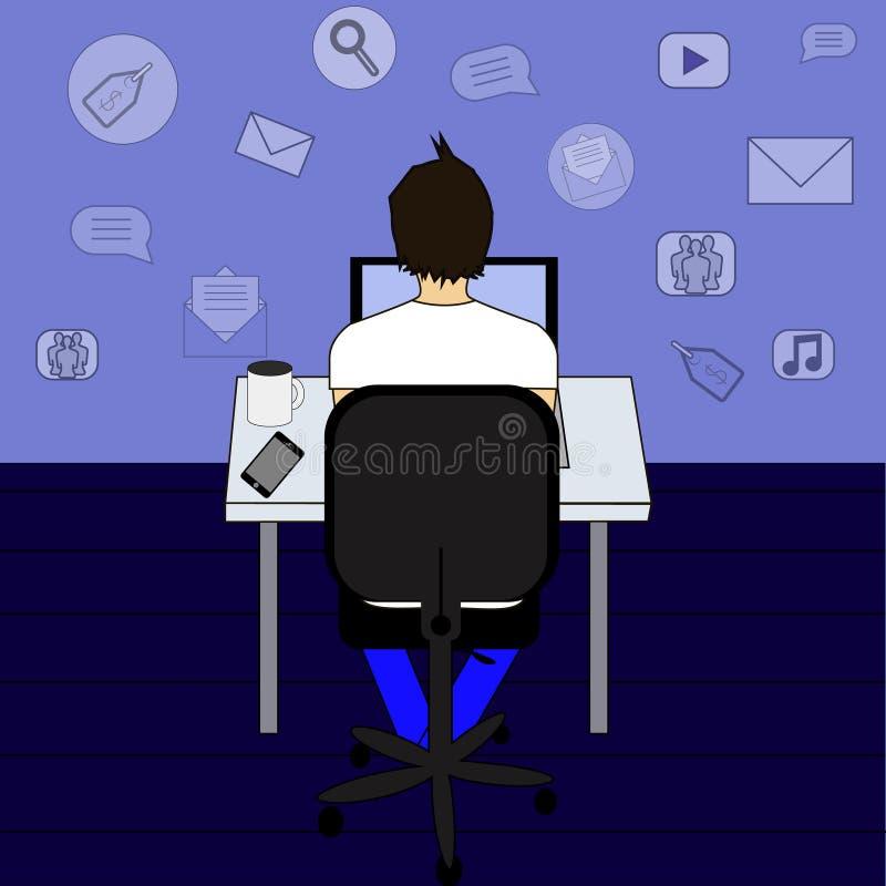 Uomo di affari o impiegato di concetto che si siede su una sedia allo scrittorio nell'ufficio, vista posteriore, progettazione pi illustrazione di stock