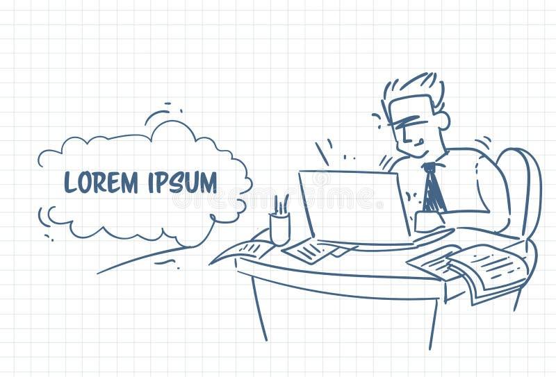 Uomo di affari di scarabocchio che lavora al fondo eccessivo disegnato a mano del computer portatile con lo spazio della copia illustrazione vettoriale