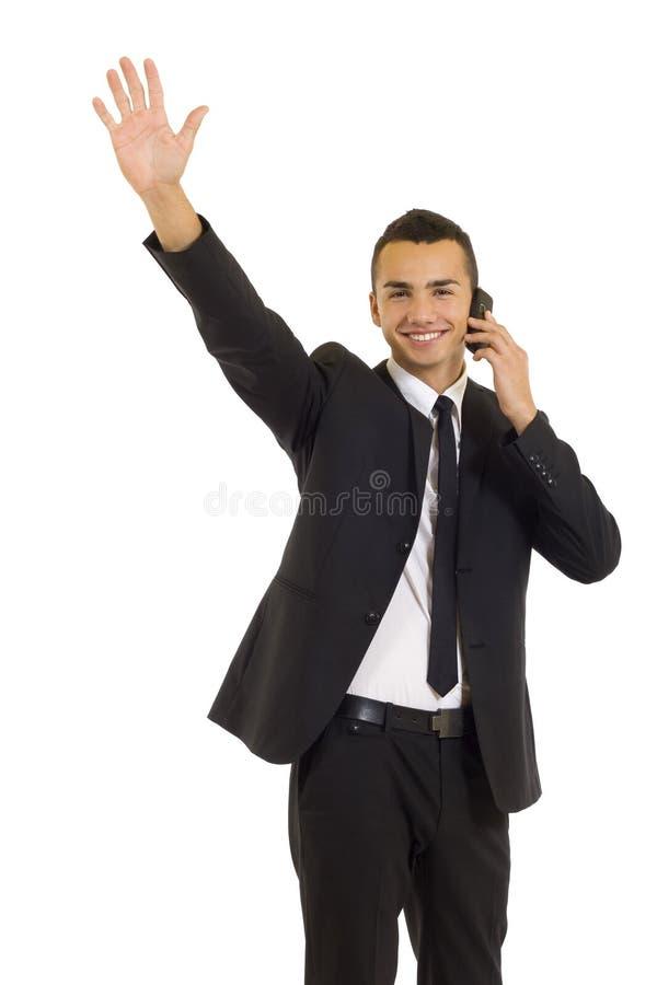 Uomo di affari sul telefono mobile fotografie stock libere da diritti
