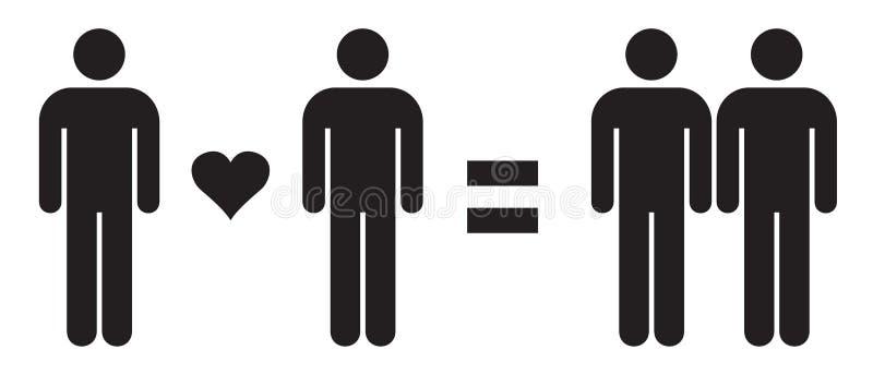 Uomo di amore dell'uomo = amore gay delle coppie nell'illustrazione di vettore Relazioni omosessuali illustrazione di stock