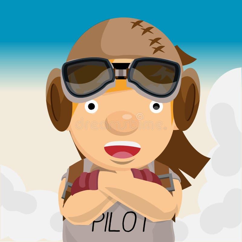 Uomo di avventura Pilota aviazione - royalty illustrazione gratis