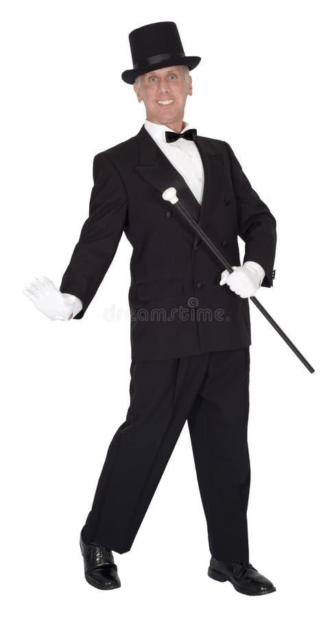Uomo di ballo e di canzone, ballerino di rubinetto, dancing, isolato fotografie stock libere da diritti
