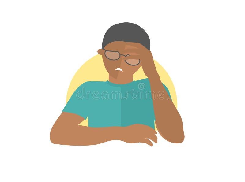 Uomo di colore bello in vetri deprimenti, triste, debole Icona piana di progettazione Ragazzo con emozione debole di depressione  illustrazione vettoriale