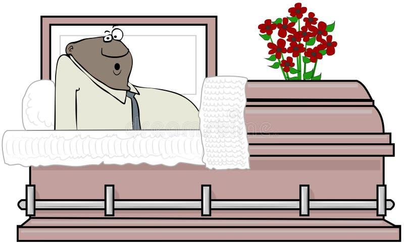 Uomo di colore che sveglia dentro un cofanetto illustrazione di stock