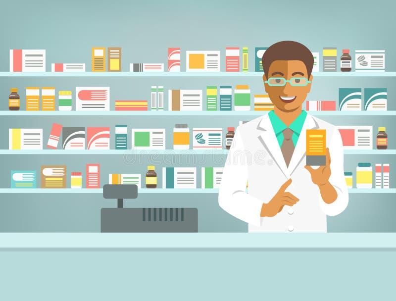Uomo di colore del farmacista con medicina al contatore in farmacia illustrazione di stock