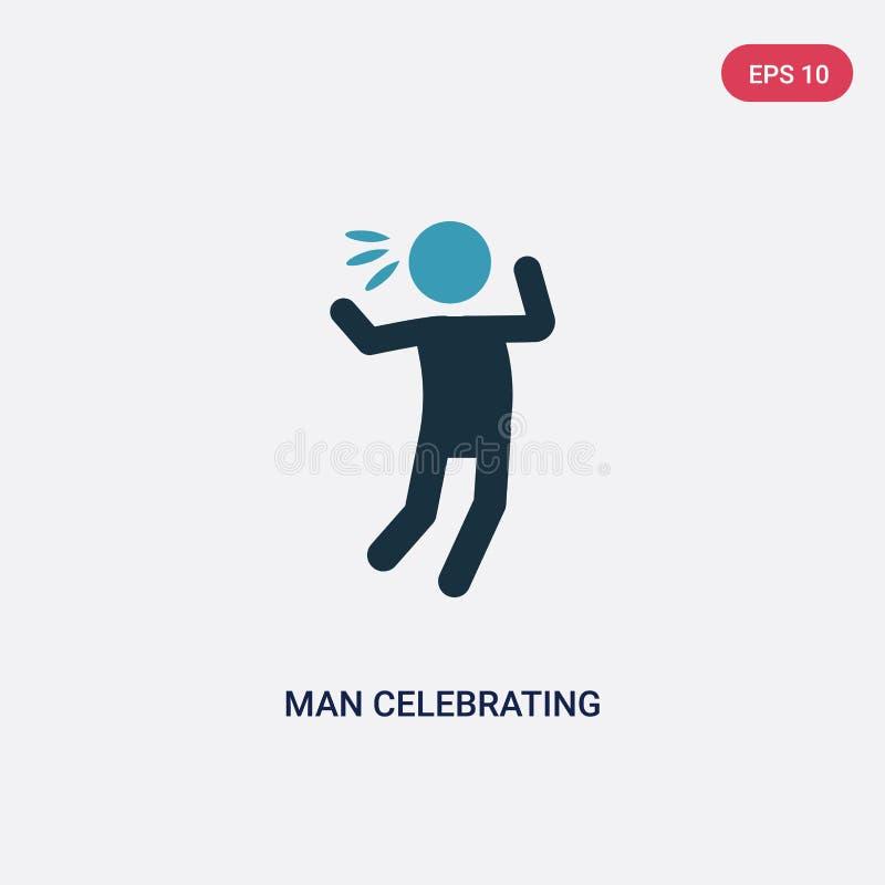 Uomo di colore due che celebra l'icona di vettore dal concetto della gente l'uomo blu isolato che celebra il simbolo del segno di illustrazione vettoriale