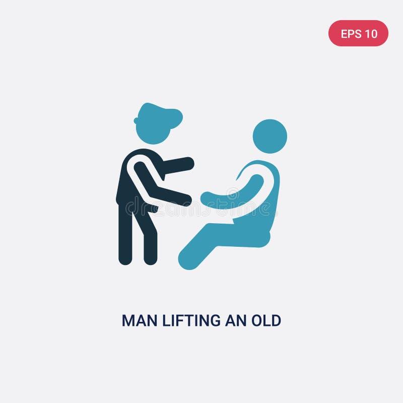 Uomo di colore due che solleva un'icona di vettore dell'uomo anziano dal concetto della gente l'uomo blu isolato che solleva un v illustrazione di stock