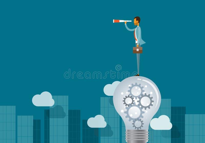 Uomo di concetto e di affari di visione di affari che sta sulle lampadine illustrazione vettoriale