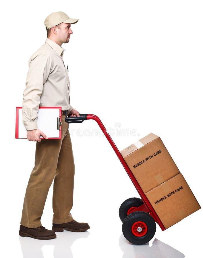 Uomo di consegna fotografie stock