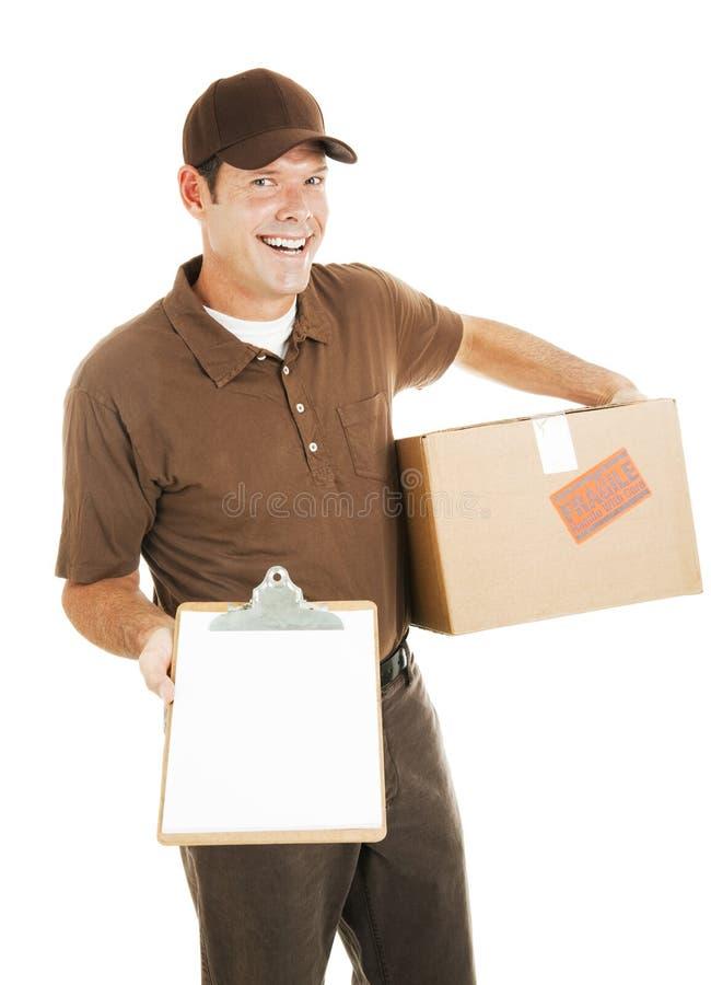 Uomo di consegna con i appunti immagini stock libere da diritti
