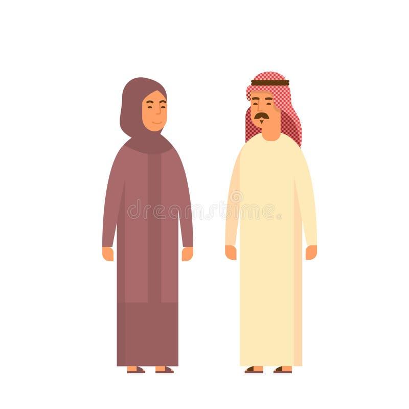 Uomo di conversazione di affari della gente musulmana delle coppie e vestiti tradizionali della donna arabi illustrazione di stock
