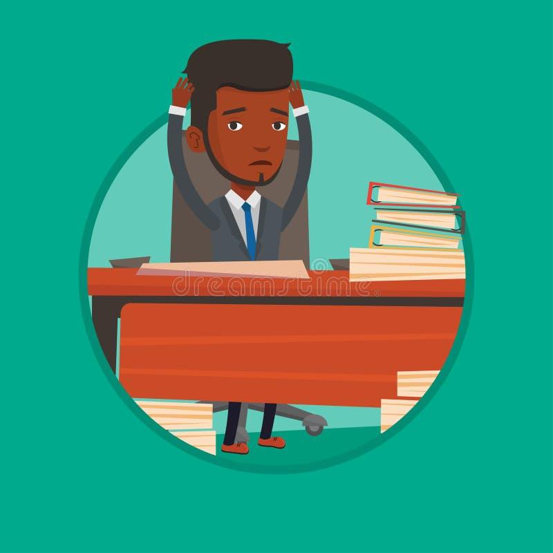 Uomo di disperazione che si siede nell'illustrazione di vettore dell'ufficio royalty illustrazione gratis
