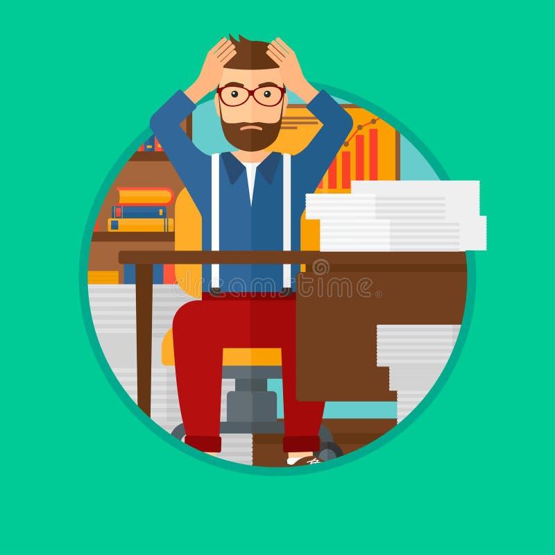Uomo di disperazione che si siede nell'ufficio illustrazione di stock