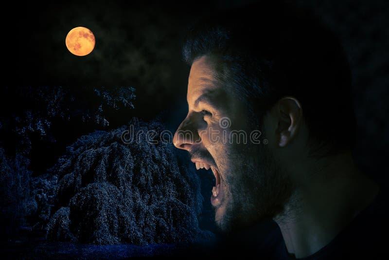 Uomo di grido prima della luna piena in una scena spaventosa di notte di Halloween fotografia stock