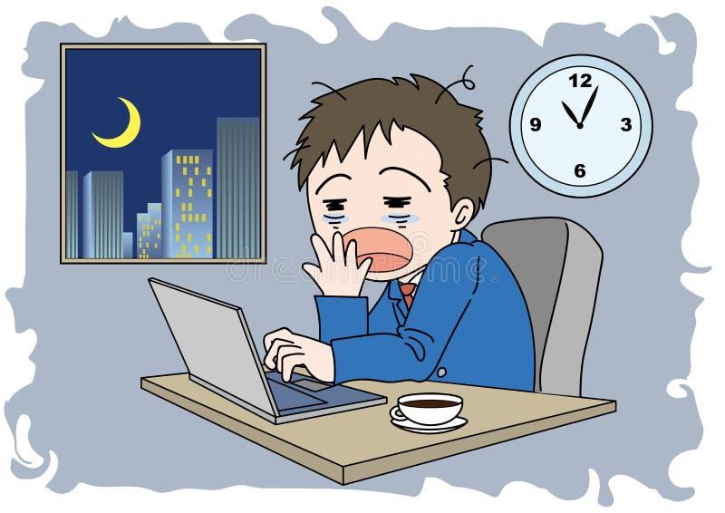 Uomo di immagine di ore straordinarie - sonnolento illustrazione vettoriale