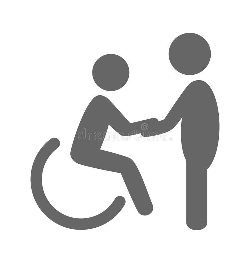 Uomo di inabilità con l'icona piana del pittogramma dell'aiuto isolata sul whi illustrazione vettoriale