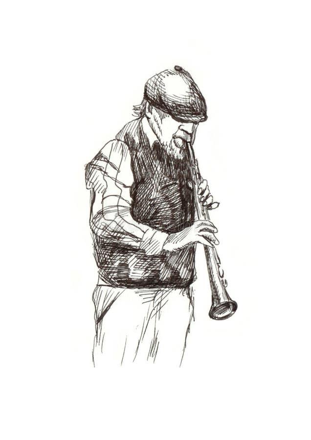 Uomo di jazz illustrazione di stock