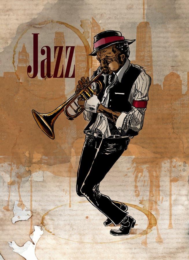 Uomo di jazz che gioca tromba Prestazione del musicista illustrazione di stock