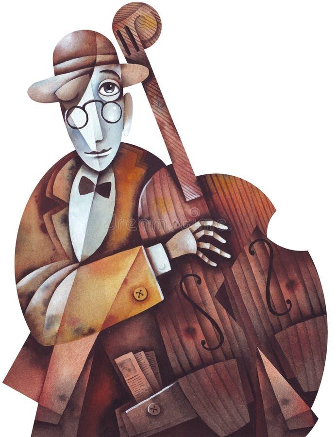 Uomo di jazz con il violoncello immagine stock libera da diritti